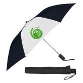 42 Inch Slim Stick Black/White Vented Umbrella-Tagline Inside