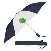 42 Inch Slim Stick Navy/White Vented Umbrella-Green Dot