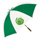 64 Inch Kelly Green/White Umbrella-Tagline Inside
