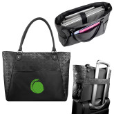Sophia Checkpoint Friendly Black Compu Tote-Green Dot