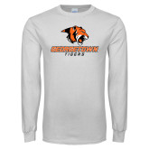 White Long Sleeve T Shirt-Stacked Georgetown Mark