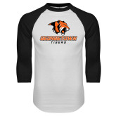 White/Black Raglan Baseball T-Shirt-Stacked Georgetown Mark