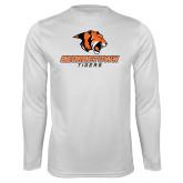 Performance White Longsleeve Shirt-Stacked Georgetown Mark