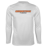 Syntrel Performance White Longsleeve Shirt-Stacked Georgetown Mark