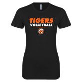 Next Level Ladies SoftStyle Junior Fitted Black Tee-Volleyball Design