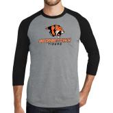 Grey/Black Tri Blend Baseball Raglan-Stacked Georgetown Mark