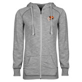 ENZA Ladies Grey/Black Marled Full Zip Hoodie-Official Logo