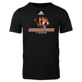 Adidas Black Logo T Shirt-Stacked Georgetown Mark