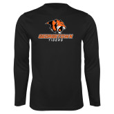 Performance Black Longsleeve Shirt-Stacked Georgetown Mark