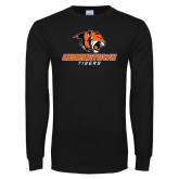 Black Long Sleeve TShirt-Stacked Georgetown Mark
