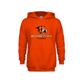 Youth Orange Fleece Hoodie-Stacked Georgetown Mark