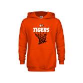 Youth Orange Fleece Hoodie-Basketball Design