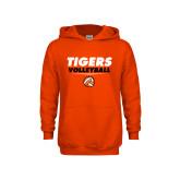 Youth Orange Fleece Hoodie-Volleyball Design