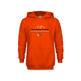 Youth Orange Fleece Hoodie-Volleyball Design
