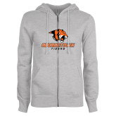 ENZA Ladies Grey Fleece Full Zip Hoodie-Stacked Georgetown Mark