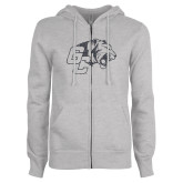 ENZA Ladies Grey Fleece Full Zip Hoodie-Official Logo Graphite Glitter