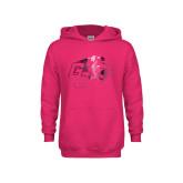 Youth Raspberry Fleece Hoodie-Official Logo Foil