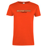 Ladies Orange T Shirt-Stacked Georgetown Mark