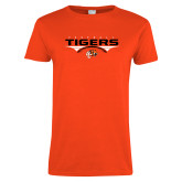 Ladies Orange T Shirt-Football Design