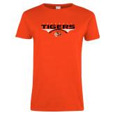 Ladies Orange T Shirt-Football Design