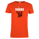 Ladies Orange T Shirt-Basketball Design