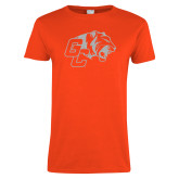 Ladies Orange T Shirt-Official Logo White Soft Glitter