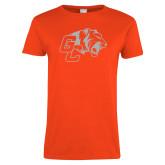 Ladies Orange T Shirt-Official Logo White Soft Glitter
