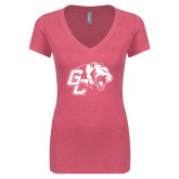 Next Level Ladies Vintage Pink Tri Blend V-Neck Tee-Official Logo