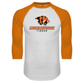 White/Orange Raglan Baseball T Shirt-Stacked Georgetown Mark