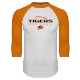 White/Orange Raglan Baseball T Shirt-Baseball Design