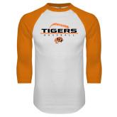 White/Orange Raglan Baseball T Shirt-Baseball Design