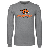 Grey Long Sleeve T Shirt-Stacked Georgetown Mark