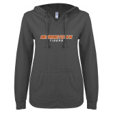 ENZA Ladies Dark Heather V-Notch Raw Edge Fleece Hoodie-Stacked Georgetown Mark