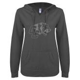 ENZA Ladies Dark Heather V-Notch Raw Edge Fleece Hoodie-Official Logo Silver Soft Glitter