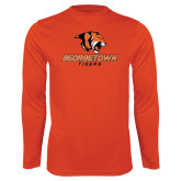 Syntrel Performance Orange Longsleeve Shirt-Stacked Georgetown Mark