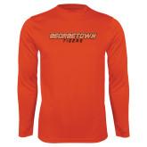 Performance Orange Longsleeve Shirt-Stacked Georgetown Mark