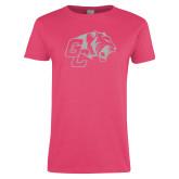 Ladies Fuchsia T Shirt-Official Logo White Soft Glitter