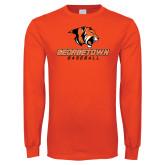 Orange Long Sleeve T Shirt-Baseball