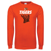 Orange Long Sleeve T Shirt-Basketball Design