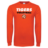 Orange Long Sleeve T Shirt-Volleyball Design