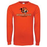 Orange Long Sleeve T Shirt-Stacked Georgetown Mark