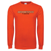 Orange Long Sleeve T Shirt-Stacked Georgetown Mark
