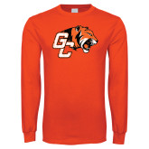 Orange Long Sleeve T Shirt-Official Logo Distressed