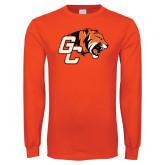 Orange Long Sleeve T Shirt-Official Logo Distressed