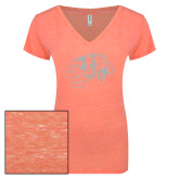 ENZA Ladies Coral Melange V Neck Tee-Official Logo White Soft Glitter
