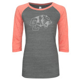 ENZA Ladies Dark Heather/Coral Vintage Triblend Baseball Tee-Official Logo White Soft Glitter