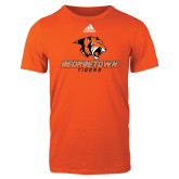 Adidas Orange Logo T Shirt-Stacked Georgetown Mark