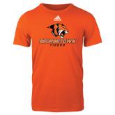 Adidas Orange Logo T Shirt-Stacked Georgetown Mark