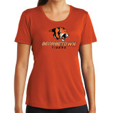 Ladies Syntrel Performance Orange Tee-Stacked Georgetown Mark