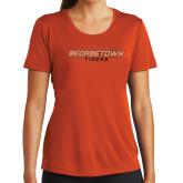 Ladies Performance Orange Tee-Stacked Georgetown Mark